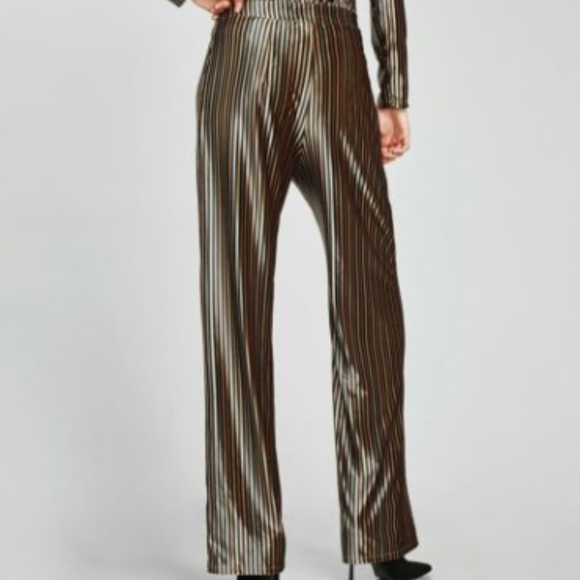 Zara Grey Velvet Trousers Size M L